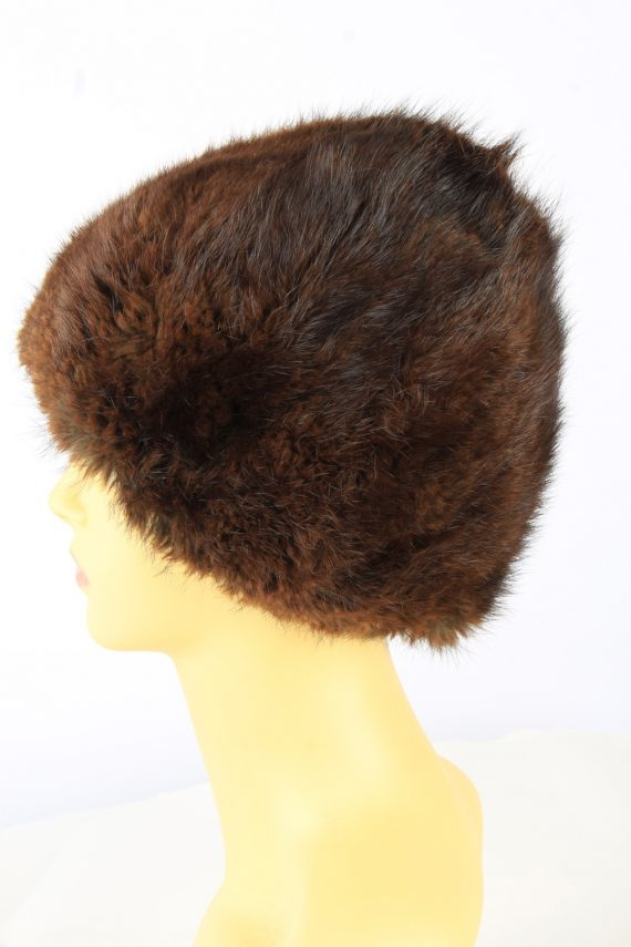 Russian Fur Cossack Hat Vintage Womens 1980s Brown -HAT1858-151856