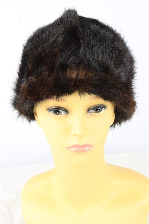 Russian Fur Cossack Hat Vintage Womens 1980s Dark Brown -HAT1859-0