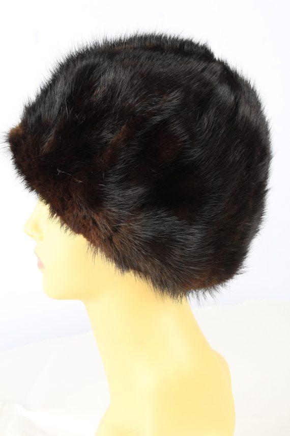 Russian Fur Cossack Hat Vintage Womens 1980s Dark Brown -HAT1859-151860