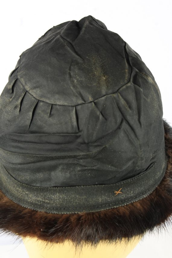 Russian Fur Cossack Hat Vintage Womens 1980s Dark Brown -HAT1859-151862