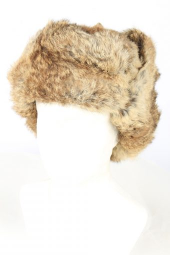 Genuine Rabbit Fur Ushanka Hat Vintage Unisex