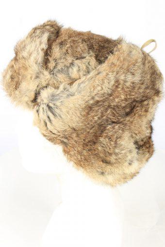 Genuine Rabbit Fur Ushanka Hat Vintage Unisex 1980s Brown -HAT1873-151916