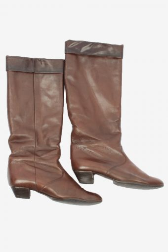 K+S Studio Leather Long Boots Vintage Womens Size UK 6.5 Brown