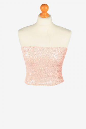 Sequin Strapless Bustier Top Womens 70s Pink S