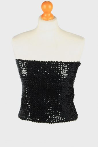 Sequin Strapless Bustier Top Womens 70s Black L