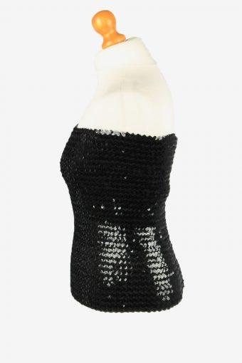 Sequin Strapless Bustier Top Vintage Womens 70s M Black -LB358-150348