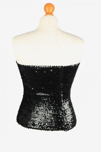 Sequin Strapless Bustier Top Vintage Womens 70s M/L Black -LB359-150352