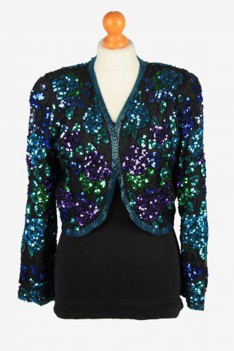 Sequin Beaded Silk Cardigan Top Womens Black M