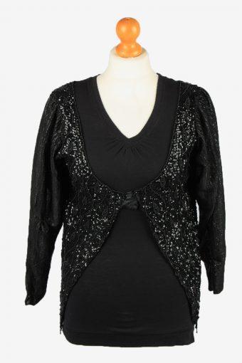 Sequin Cardigan Top Womens 80s Black L