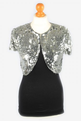 Sequined Beaded Cardigan Top Womens 80s Grey M