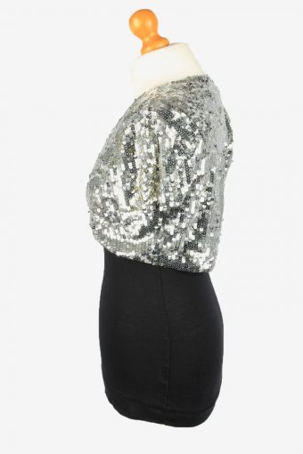 Sequined Beaded Cardigan Top Vintage Womens 80s M Silver -LB336-150263