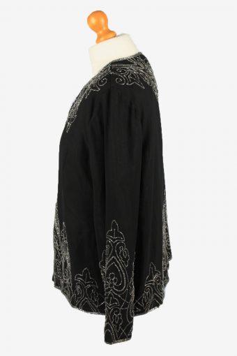 Beaded Cardigan Top Vintage Womens 80s XL Black -LB338-150271