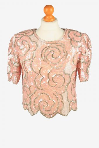 Sequined Beaded Top Blouse Womens 80s Pink M