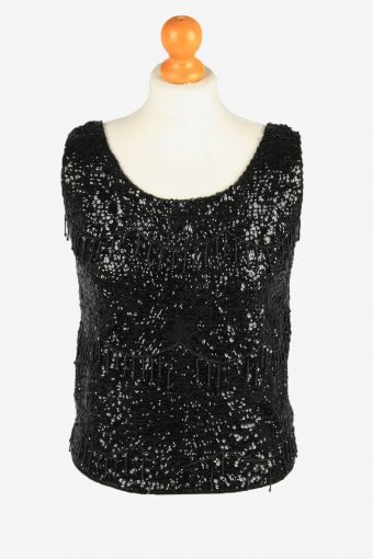 Sequined Beaded Top Blouse Womens 80s Black M