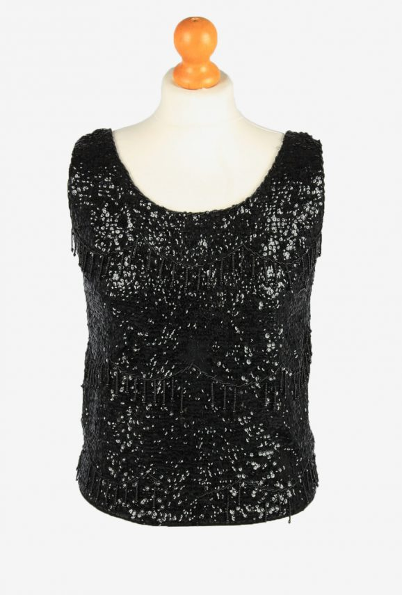 Sequined Beaded Top Blouse Vintage Womens 80s M Black -LB341-0
