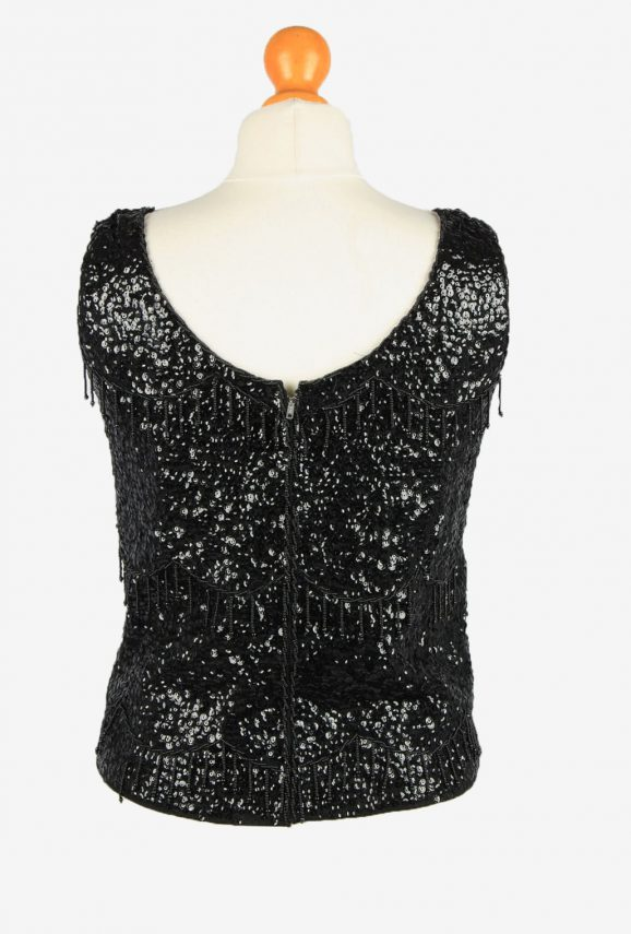 Sequined Beaded Top Blouse Vintage Womens 80s M Black -LB341-150284