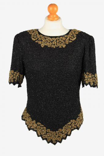 Sequined Beaded Top Blouse Womens 80s Black L