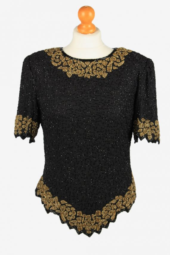 Sequined Beaded Top Blouse Vintage Womens 80s L Black -LB342-0