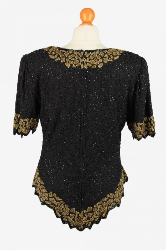 Sequined Beaded Top Blouse Vintage Womens 80s L Black -LB342-150288