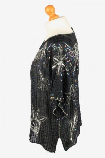 Sequin Top Blouse Vintage Womens 80s M Black -LB343-150291