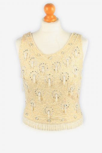 Sequined Beaded Top Blouse Womens 80s Beige M