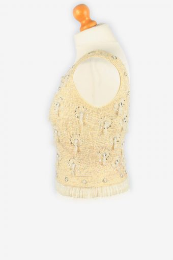Sequined Beaded Top Blouse Vintage Womens 80s S Beige -LB345-150299