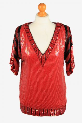 Sequined Silk Top Blouse Womens 80s Red M