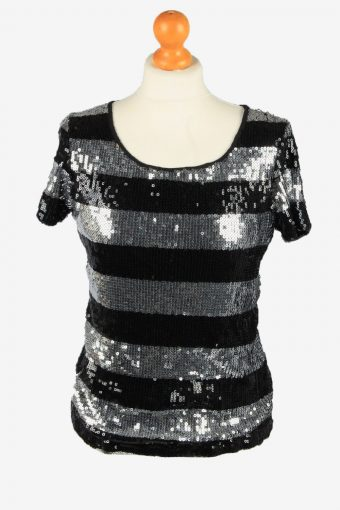 Sequined Beaded Top Blouse Womens Black S