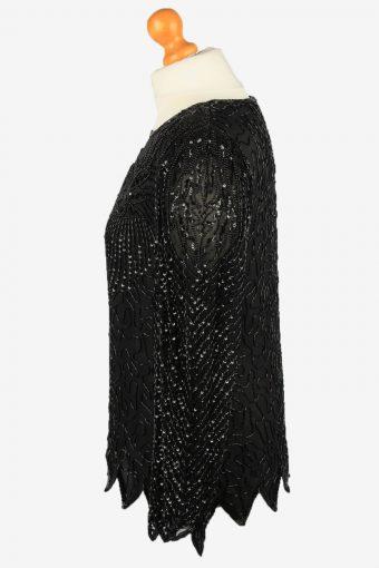 Sequin Silk Top Blouse Vintage Womens 80s M Black -LB349-150315