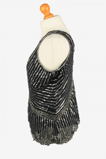 Sequined Beaded Top Blouse Vintage Womens 80s S Black -LB351-150323