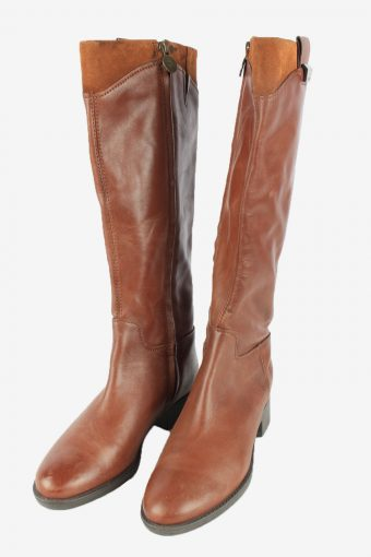 Geox Leather Long Boots Vintage Womens Size 37.5 Brown