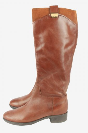 Geox Leather Long Boots Vintage Womens Size 37.5 Brown -S819-154359