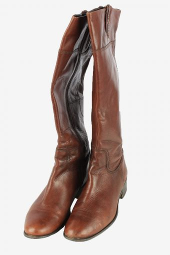 Leather Long Boots Vintage Womens Size UK 5.5 Brown