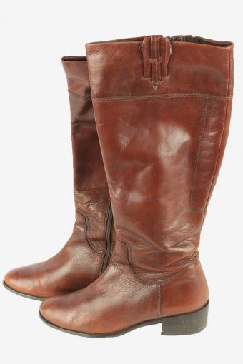 Leather Long Boots Vintage Womens Size UK 5.5 Brown -S822-154371