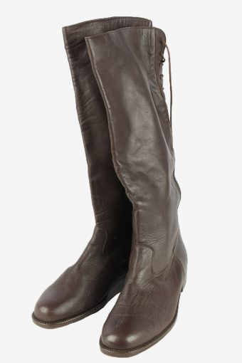Remonte Leather Long Boots Vintage Womens Size UK 7.5 Black