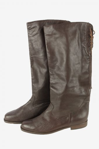 Remonte Leather Long Boots Vintage Womens Size UK 7.5 Black -S825-154383