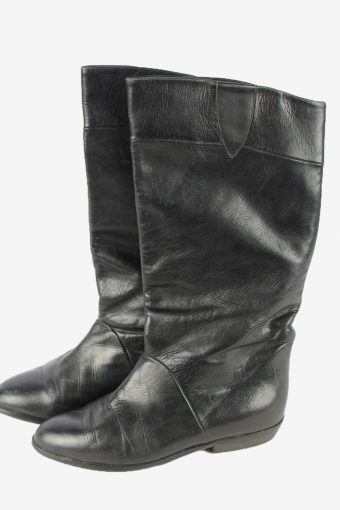 Peter Kaiser Leather Long Boots Vintage Womens Size UK 3 Black -S826-154387