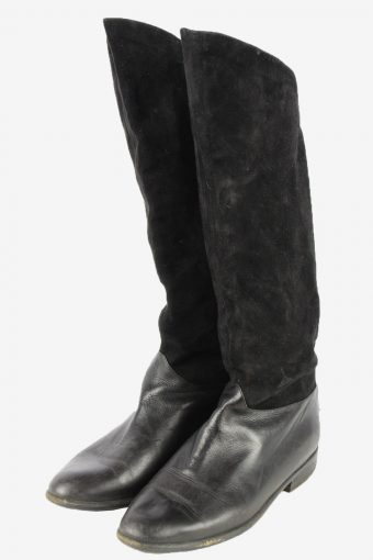 Peter Kaiser Leather Long Boots Vintage Womens Size UK 6 Black