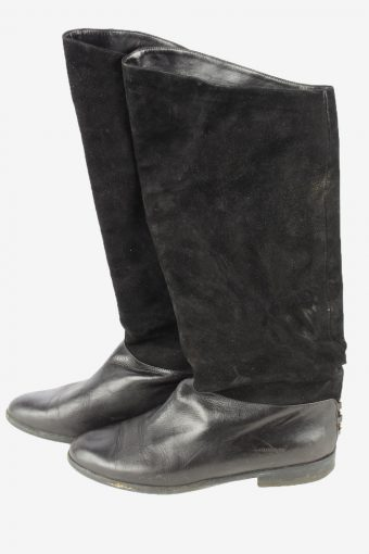Peter Kaiser Leather Long Boots Vintage Womens Size UK 6 Black -S827-154391