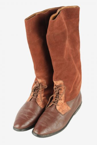 Leather Long Boots Vintage Womens Size UK 4 Brown