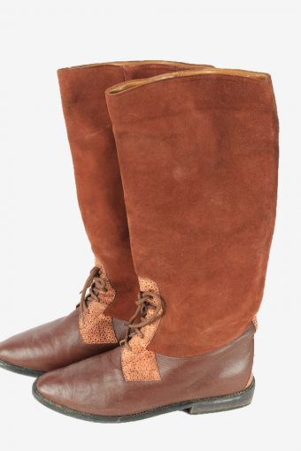 Leather Long Boots Vintage Womens Size UK 4 Brown -S830-154403