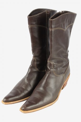 Calzados Prici Leather Long Boots Vintage Womens Brown