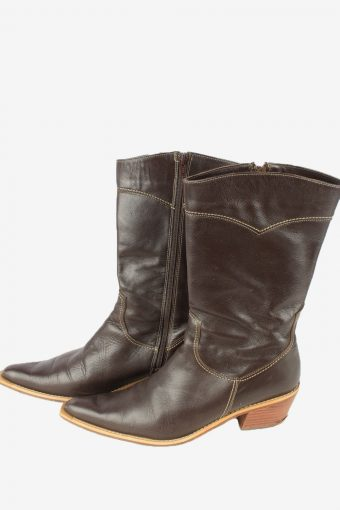 Calzados Prici Leather Long Boots Vintage Womens Brown -S832-154411