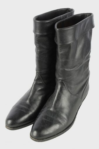 Gaby Leather Mid Calf Boots Vintage Womens Size UK 6 Black