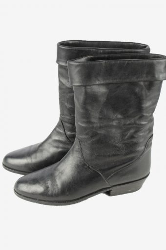 Gaby Leather Mid Calf Boots Vintage Womens Size UK 6 Black -S835-154423