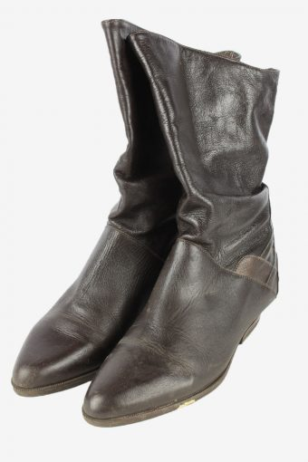 Leather Boots Vintage Womens Size 38 Brown