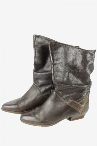 Leather Boots Vintage Womens Size 38 Brown -S838-154435