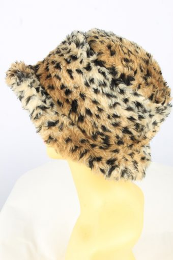 Brim Leopard Hat Vintage Womens 1990s Brown -HAT1736-150900