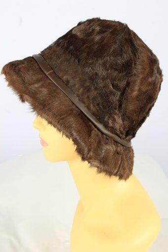Brim Furry Leopard Hat Vintage Womens 1990s Brown -HAT1739-150912