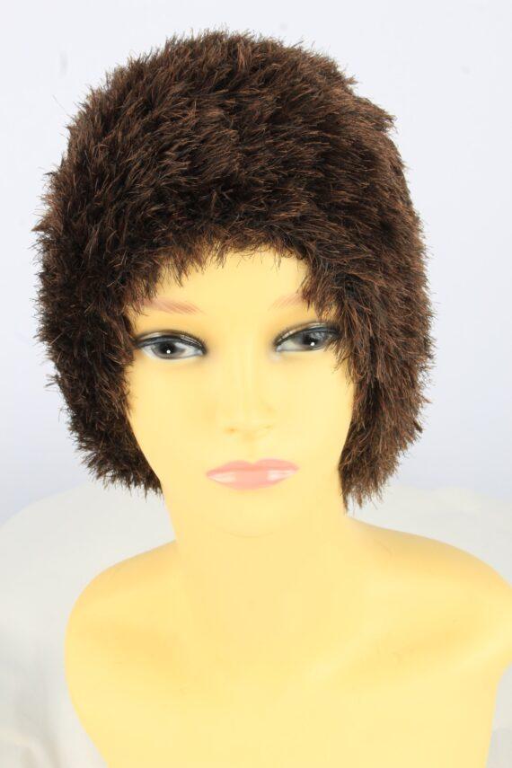Furry Beanie Winter Hat Vintage Womens 1990s Brown -HAT1745-0